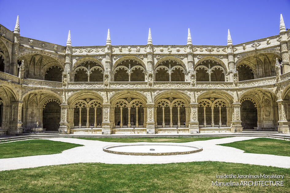 Cloister of the Jeronimos Monastery is one of the most significant monuments in Manueline architecture in Portugal